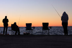 Fishing at Cleveland point silhouettes Royalty Free Stock Photo
