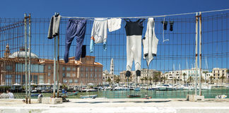 Fishing clothes drying Stock Photo