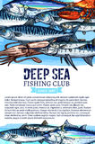 Fishing club banner with seafood and fish sketches Royalty Free Stock Image