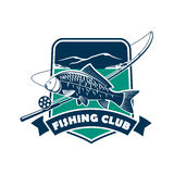 Fishing club emblem for fisherman sport Stock Photography