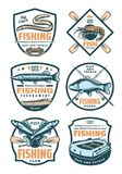 Fishing club and fisher shop retro badges. Fishing sport retro badges for sport club, fish trade, fishing store and tournament design. Fish catch, fisherman bait vector illustration