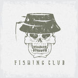 Fishing club grunge emblem with skull in panama Royalty Free Stock Photo