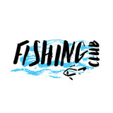 Fishing club hand drawn. Lettering fishing club, hand drawn with brush pen, inc. Vector. Logo. Could be used for fishing club, restaurant, sport fishing club Royalty Free Stock Images