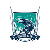Fishing club heraldic symbol with pike fish Stock Photos