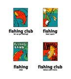Fishing club logo set. Fishing club logo illustration set. Comic style Royalty Free Stock Images