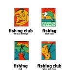 Fishing club logo set. Fishing club logo illustration set. Comic style Stock Image
