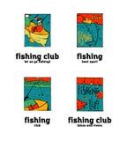 Fishing club logo set. Fishing club logo illustration set. Comic style Stock Photos