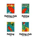 Fishing club logo set. Fishing club logo illustration set. Comic style Stock Images