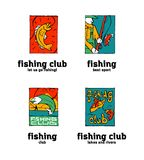 Fishing club logo set. Fishing club logo illustration set. Comic style Royalty Free Stock Image