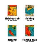 Fishing club logo set. Fishing club logo illustration set. Comic style Royalty Free Stock Photos