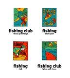 Fishing club logo set. Fishing club logo illustration set. Comic style Stock Photo