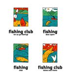 Fishing club logo set. Fishing club logo illustration set. Comic style Stock Photography