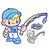 Fishing club mascot. Education and life Character Design series. Stock Images