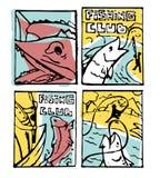 Fishing poster set. Fishing club poster illustration set. Comic style Royalty Free Stock Images