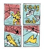 Fishing poster set. Fishing club poster illustration set. Comic style Stock Images