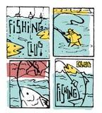 Fishing poster set. Fishing club poster illustration set. Comic style Stock Photos