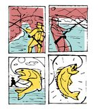 Fishing poster set. Fishing club poster illustration set. Comic style Stock Image