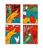 Fishing poster set. Fishing club poster illustration set. Comic style Royalty Free Stock Photos