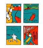 Fishing poster set. Fishing club poster illustration set. Comic style Royalty Free Stock Photo