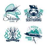 Fishing club or trip vector icons set. Sea fishing trip vector icons of crab, shrimp or prawn and squid. Emblems of fisher club with seafood catch and fishery Royalty Free Stock Photo