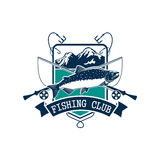 Fishing club vector icon with salmon fish. Fishing emblem or fisher club icon of pink or humpback salmon catch on hook, fish rod and float with bait lure. Badge Royalty Free Stock Photos