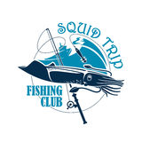 Fishing club vector icon for squid catch trip Stock Images