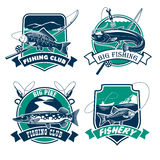 Fishing club vector icons and emblems set Stock Photo