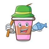 Fishing coffee cup mascot cartoon. Vector illustration Stock Photography