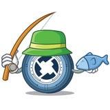 Fishing 0X coin mascot cartoon. Vector illustration Stock Photos