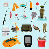 Fishing color icons set for web and mobile design. Fishing color flat icons set Royalty Free Stock Photo