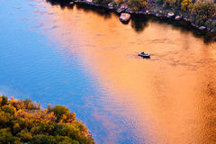 Fishing in the Colorado River. Fishing boat in the Colorado River at the beginning of Grand Canyon, Arizona Stock Images