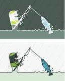 Fishing colored cartoon Royalty Free Stock Image