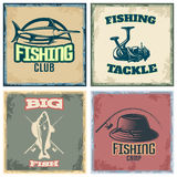Fishing Colored Compositions. With four square icon set with fishing club fishing tackle big fish and fishing camp descriptions vector illustration Stock Photography
