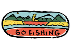 Fishing colored illustration. Man go fishing. Sits in a boat with fishing rod in his hands. Mountains, hills and woods on background. River bank. Go fishing text Royalty Free Stock Photos