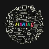 Fishing colorful gradient with line icons set. Vector editable stroke Stock Image