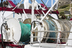 Fishing colorful net on boat stock images