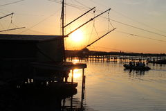 Fishing. Comacchio in summer Royalty Free Stock Photos