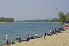 Fishing competition. Took at Ada Ciganlija lake at 11.04.2009. Belgrade, Serbia Royalty Free Stock Photos