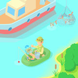 Fishing concept, cartoon style Stock Images