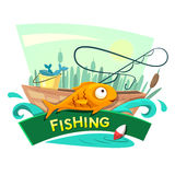 Fishing concept design, vector illustration. Fishing concept design, recreation time vector illustration Royalty Free Stock Photo