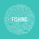 Fishing Concept. Different fishing elements arranged in a circle with sign fishing in the middle. Vector line art. Fishing shop design element Stock Image