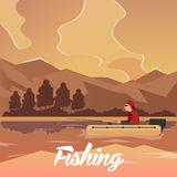 Fishing concept. Fishing on the boat, flat style. Fishing illustration. Fishing concept. Fishing on the boat, flat style. Fishing illustration Royalty Free Stock Images