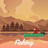 Fishing concept. Fishing on the boat, flat style. Fishing illustration. Fishing concept. Fishing on the boat, flat style. Fishing illustration Stock Images