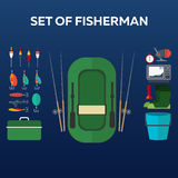 Fishing concept. Fishing on the boat, flat style. Fishing illustration. Fishing concept. Fishing on the boat, flat style. Fishing illustration Royalty Free Stock Photos