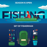 Fishing concept. Fishing on the boat, flat style. Fishing illustration. Fishing concept. Fishing on the boat, flat style. Fishing illustration Royalty Free Stock Photography
