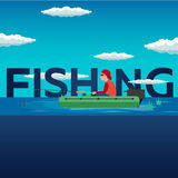 Fishing concept. Fishing on the boat, flat style. Fishing illustration. Fishing concept. Fishing on the boat, flat style. Fishing illustration Royalty Free Stock Image
