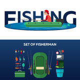 Fishing concept. Fishing on the boat, flat style. Fishing illustration. Fishing concept. Fishing on the boat, flat style. Fishing illustration Stock Photography
