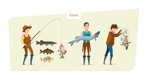Fishing concept: fishing on fishing rod, demonstration results, storage fish. Fishing concept. People catch fish: fishing on fishing rod of different kinds of Royalty Free Stock Images