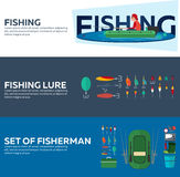Fishing concept. Fishing set banners, flat style. Fishing illustration. Royalty Free Stock Photos