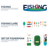 Fishing concept. Fishing set banners, flat style. Fishing illustration. Royalty Free Stock Photo